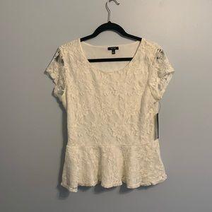 Apt 9 white lace peplum top